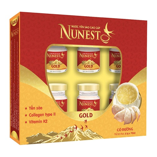 Nước Yến Sào Cao Cấp Gold Collagen Và Vitamin K2 Có Đường Nunest Lốc 420ml  - Cung cấp thực phẩm Csfood